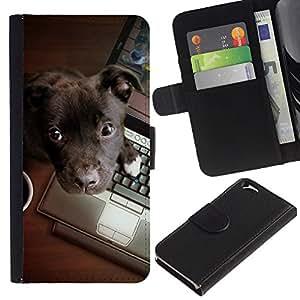 Be Good Phone Accessory // Caso del tirón Billetera de Cuero Titular de la tarjeta Carcasa Funda de Protección para Apple Iphone 6 4.7 // Brown Labrador Retriever Puppy Work
