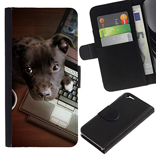 OMEGA Case / Apple Iphone 6 4.7 / brown Labrador retriever puppy work / Cuir PU Portefeuille Coverture Shell Armure Coque Coq Cas Etui Housse Case Cover Wallet Credit Card