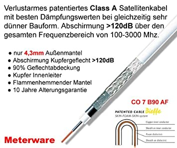 Bieffe Cavi CO 7 B90 AF cable coaxial satélite Class A, metro, 4,