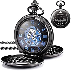 TREEWETO Engraved Mechanical Pocket Watches Father's Day Birthday Roman Numerals Dial Skeleton Personalized Gift for Man Mens Dad Father with Box and Chain
