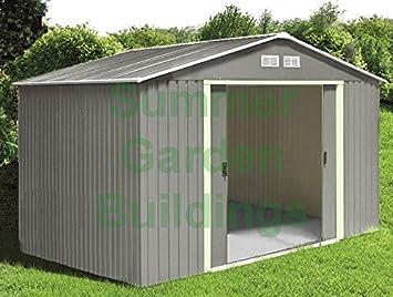 Metal Shed Garden Storage Apex Roof Double Door Galvanized