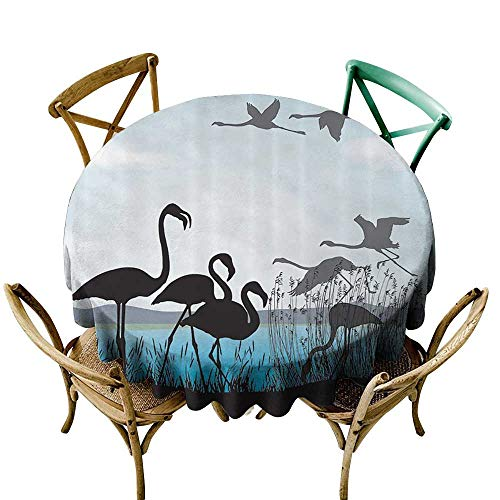 (one1love Resistant Table Cover Animal Shadow Decor Collection Flamingo Silhouettes and Waterfront Walking Animals Design Dinner Picnic Table Cloth Home Decoration 55 INCH Black Blue Turquoise)