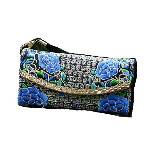 Double Double sided Blue coin Bag Handmade Embroidery Purse Women sided Purse Handmade coin Bag Women Embroidery qwApIa0