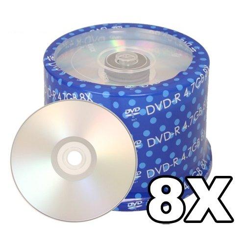 Spin-X Duplication Grade Silver Inkjet Metalized Hub Printable 8X DVD-R Media 50 Pack in Cake Box - Box Cake Inkjet Silver