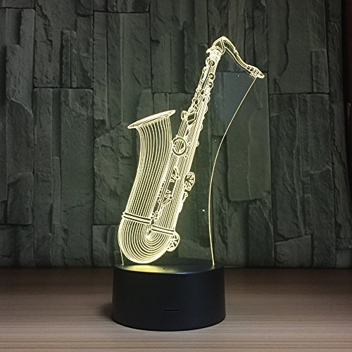 3D Optical Illusion Saxophone Nigth Light LED Table Desk Lamp 7 Color Changeable LED Night Light Home Party Decoration for Birthday Gift Christmas Xmas Festival Gift for Music Lovers Fans by Fuxiao
