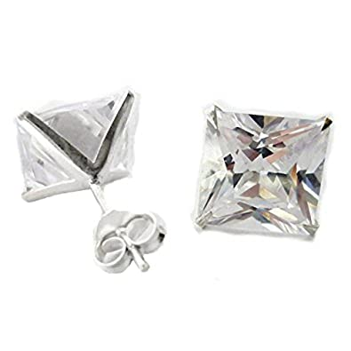 GULICX Diamante CZ Square Pierced Studs Rose Gold/Silver Tone 7mm Stone Earrings Men Women LSUjj73L4