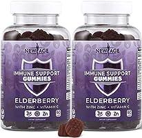New Age Immune System Support Gummies 2-Pack - Sambucus Black Elderberry Extract - All Natural Immunity Gummies - 120...