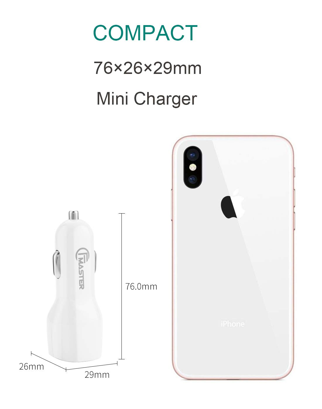 2.1A 10.5W 12V Output 2 Port with Blue LED Indicator for iPhone X Xs Max XR Dual USB Car Charger Samsung Galaxy Note 9 8 7 and More Smart Phone Master iPad Pro Air Mini