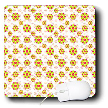 Octagon Flower - 3dRose Anne Marie Baugh - Patterns - Green and Pink Octagon Flowers Pattern - Mousepad (mp_215693_1)