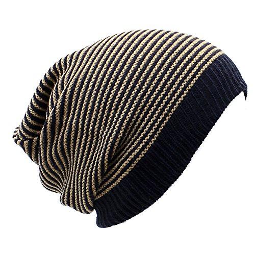 Striped Mens Khakis - an Beanies for Teens Men Navy & Khaki Striped Knit Crochet Hats for Women Fall