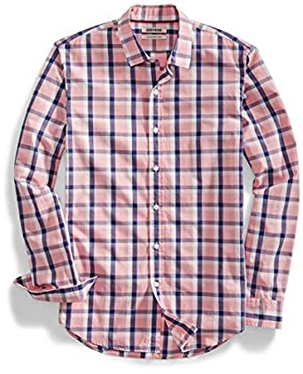 Goodthreads Men's Slim-Fit Long-Sleeve Two-Color Windowpane Shirt, Pink/Navy, Small