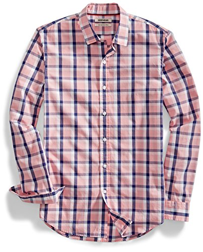 Goodthreads Men's Slim-Fit Long-Sleeve Two-Color Windowpane Shirt, Pink/Navy, Medium ()