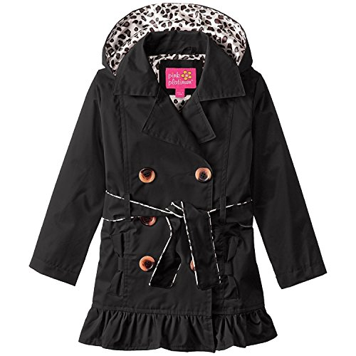 Pink Platinum Big Girls' Double Leopard Jacket, Fuchsia, (Coat Pink Leopard)