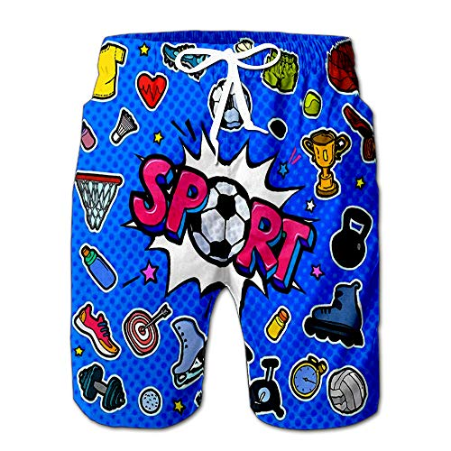 (Summer Shorts Pants Message Sport with Soccer Ball in Pop Art Style Mens Golf Sports Shorts S)