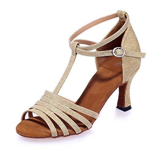 L@YC Zapatos De Baile Para Mujeres Zapatos De PráCtica / SalóN De Baile / Cuero Moderno / Lentejuelas Brillantes golden