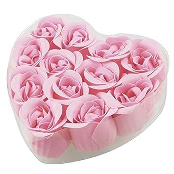 Caja en Forma de corazón eDealMax 12 piezas de baño Fucsia del brote de Rose pétalo