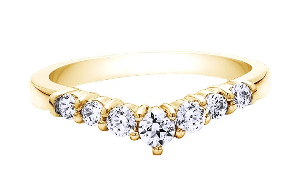 Jewel Zone US White Cubic Zirconia Chevron Classic Contour Anniversary Ring In 14k Yellow Gold Over Sterling Silver