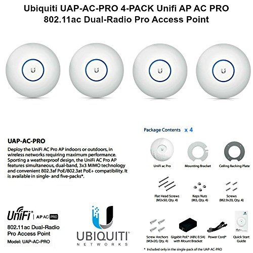 Ubiquiti UAP-AC-PRO 4-PACK Unifi AP AC PRO 11ac Dual-Radio Pro Access Point by Ubiquiti Networks