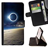 - ATMOSPHERE VIEW MOON EARTH ECLIPSE SUN - - Premium PU Leather Wallet Case with Card Slots, Cash Detachable Wrist Strap Funny HouseFOR Samsung Galaxy S5 V SM-G900