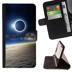 Jordan Colourful Shop - moon sun eclipse earth atmosphere view For Sony Xperia Z3 D6603 - < Leather Case Absorci????n cubierta de la caja de alto impacto > -