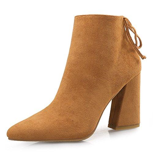 tacón punta Botas color botas 38 camello con cm de cuero lijado de de gruesa y 9 alto de Rq40qAw