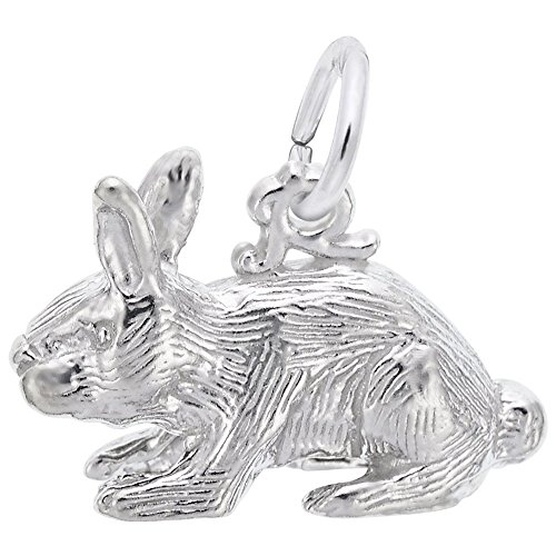 14k Gold Rabbit Charm - Rabbit Charm In 14k White Gold, Charms for Bracelets and Necklaces