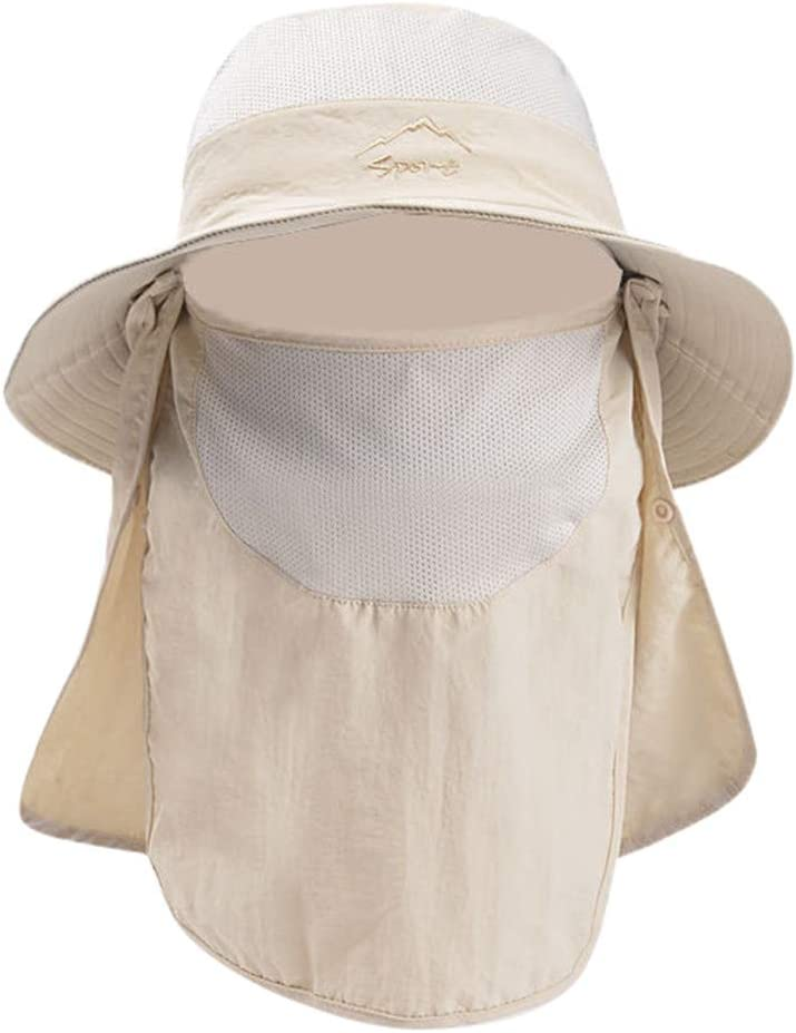 Boating Anti-UV Protection Quick-Drying with Removable Neck Flap By Sagton Camping Mountaineering Beige Outdoor Sports Sun Hat For Men for Gardening