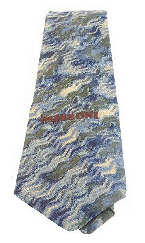 Missoni U1532 Blue//Green Sharkskin 100/% Silk Tie for mens