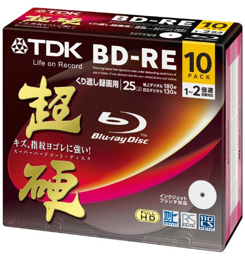 TDK Blu-ray BD-RE Re-writable Disk 25GB 2x Speed 10 Pack | Blu-ray Disc Rewritable Format Ver. 2.1 | Super Hard Coating Surface (Japan Import)