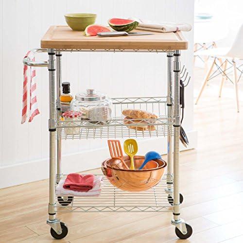 20″ x 40″ 3 Tier Maple Butcher Block Gourmet Basket Cart