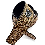 CHYIR Adjustable PU Leather Thick Guitar Strap Retro Style Strap for Electric Acoustic Guitar Bass (yellow)