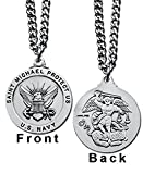 Round St. Michael Navy Medal with Prayer Card