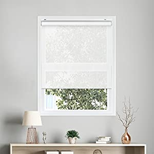"CHICOLOGY Snap-N'-Glide Cordless Roller Shades UV Blocking Fabric Window Blind, 39"" W X 72"" H, View-Tiful White (Premium Solar)"
