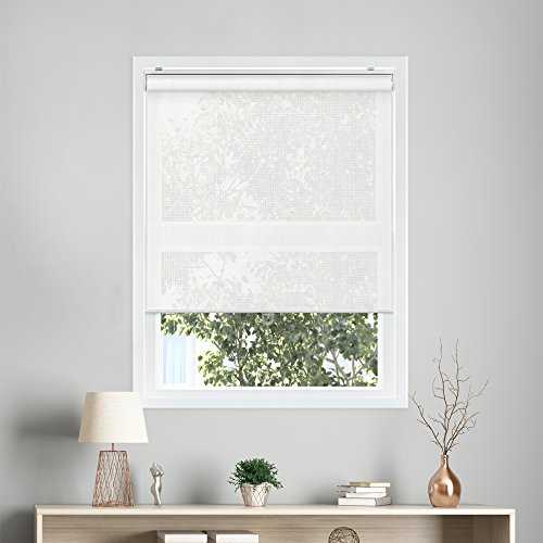 Chicology Snap-N'-Glide Cordless Roller Shades UV Blocking Fabric Window Blind, 48'' W X 72'' H, View-Tiful White (Premium Solar) by CHICOLOGY