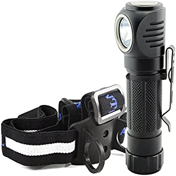 Lumintrail Angle Head 1050 Lumen LED Multi Purpose Flashlight features Headlamp Strap, Pocket Clip, Magnetic Tail, 5 Modes including Strobe (No Batteries Included)