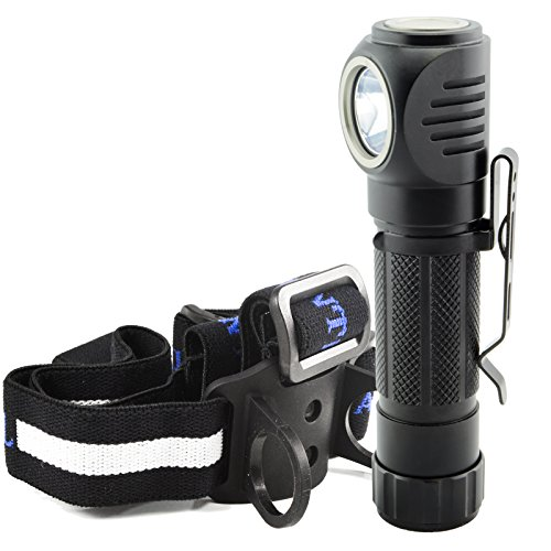 Angle Head Flashlight (Lumintrail Angle Head 1050 Lumen LED Multi Purpose Flashlight features Headlamp Strap, Pocket Clip, Magnetic Tail, 5 Modes including Strobe (No Batteries Included))