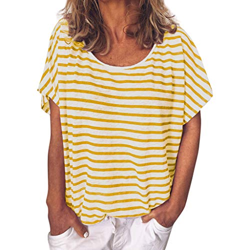 Keliay Cute Womens Tops Summer,Women Summer Casual Printed Striped O-Neck Short Sleeve Top Blouse Yellow by Keliay (Image #7)