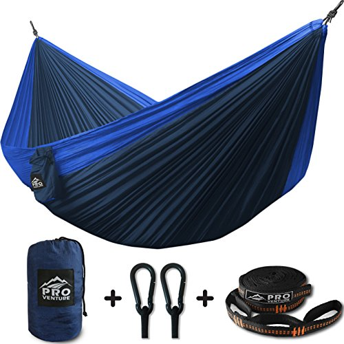 ProVenture Double Camping Hammock & FREE 9ft straps - Lightweight & Compact - For Backpacking, The Beach, Back Yard, Travel, Or Any Adventure!