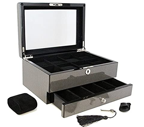 Decorebay top Collection Carbon Fiber Pattern Watch & Cufflink Jewelry Box Case Gift
