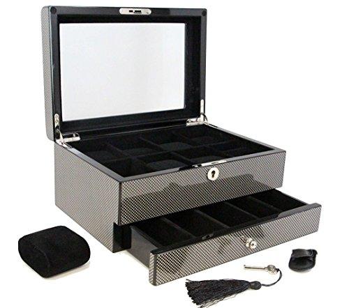 Decorebay top Collection Carbon Fiber Pattern Watch & Cufflink Jewelry Box Case - Wood Fiber Carbon