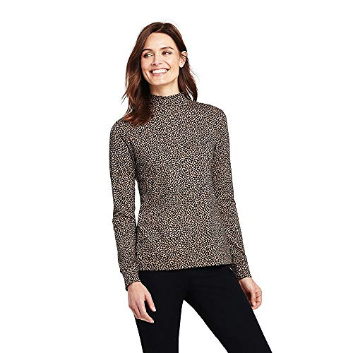 Interlock Turtleneck Ladies Mock (Lands' End Women's Petite Relaxed Cotton Mock Turtleneck, XS, Soft Camel Dots)