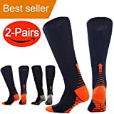 Compression Socks (Pair of 2) for Men Women Running Socks,Sport Socks for Running, Nurses,Shin Splints,Flight Travel, Pregnancy.Boost Stamina, (L/XL (8-15.5/8-14) by ANGELGG