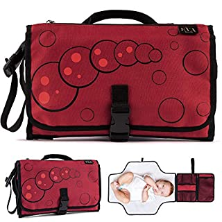 Portable Changing Pad Baby Diaper -Waterproof Lightweight Large Travel Diapers Changing Station Red Color Compact Clutch Detachable Foldable Mat Built in Head Cushion and Pockets Wipe Clean for Babies