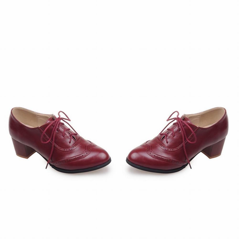 755b733b151 Latasa zapatos de mujer con cordones de tacón medio de cordones de moda de  mujer rojo clarete