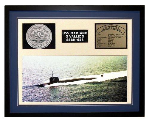 Navy Emporium USS Mariano G Vallejo SSBN 658 Framed Navy Ship Display Blue