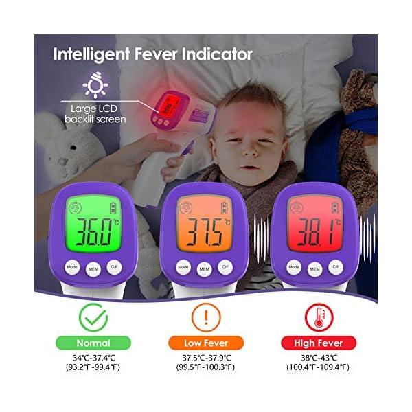 Thermomètre sans Contact, KKmier Thermometre Frontal Adulte, Thermometre Médical Frontal pour Bébés, Enfants, Adultes et…