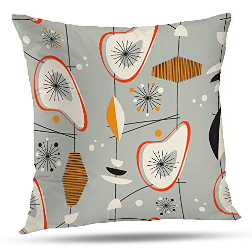 Batmerry Geometric Pillow Covers 18x18 Inch, Geometric Retro Mid Century Modern Abstract Decorative Double Sided Decorative Pillows Cases Throw Pillows Covers