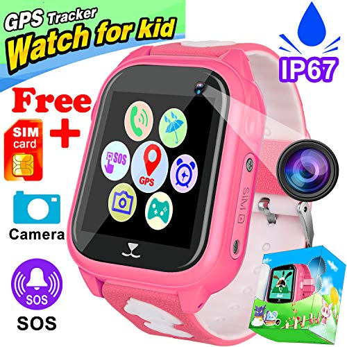 [FREE Speedtalk SIM Card] Kids Smart Watch Phone IP68 Waterproof GPS Tracker for Girls Boys Birthday Holiday Gifts Game Toy Watch Camera Cellphone SOS Anti-lost Touch Fitness Tracker for IOS/Android
