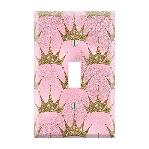 Pink Glitter Gold Crown Light Switch Plate, Gold Crown Light Switch Cover, Pink Glitter Light Switch Cover, Glitter Art, Glitter Lover TF42