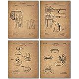 Bathroom Patent Wall Art Prints - Set of Four Photos